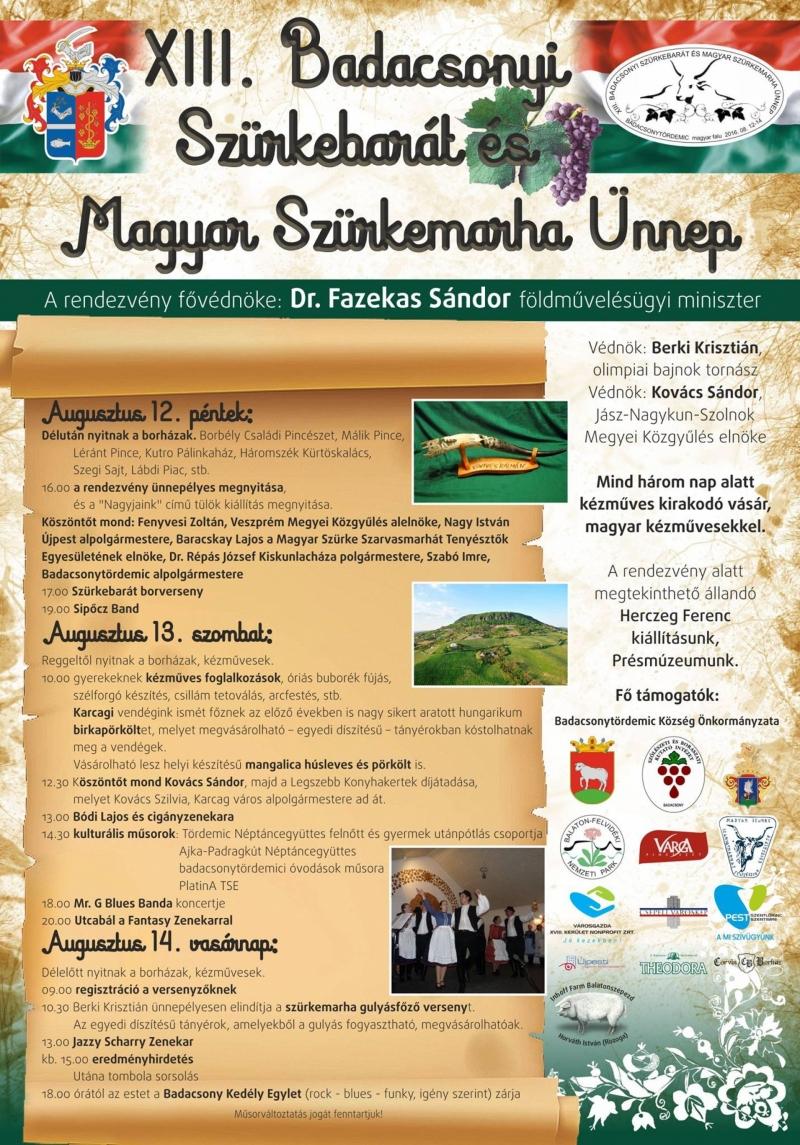 XIII. Badacsonyi Szürkebarát és Magyar Szürkemarha Ünnepe